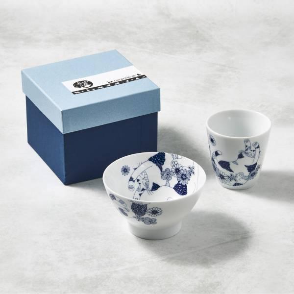 日本澤藍美濃燒 - 花園藍貓杯碗組-禮盒組(2件式) 陶杯,日本製,食器,手工,檢驗合格,貓