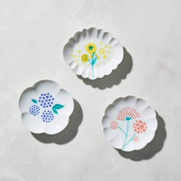 日本晴九谷燒 - 點點花豆皿(3入組) ★ 全部日本原裝精緻禮盒,送禮適宜