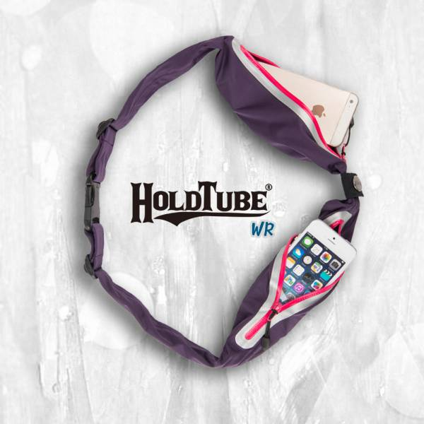 HOLDTUBE 運動腰帶-防潑水雙口袋-紫粉 運動腰帶、水瓶袋、時尚單品、運動配件