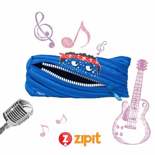 (5折出清)-Zipit Talking 對話怪獸拉鍊包-(中)藍 怪獸拉鍊包、筆袋、化妝包、隨身小包