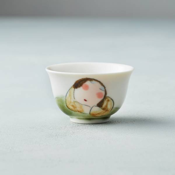 吳仲宗|胖太太系列 - 小杯 - 木蘭白 (核桃棕衣) 陶瓷杯;茶杯;泡茶杯;酒杯;手繪;三芝藝術家