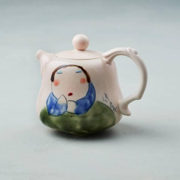 吳仲宗|胖太太系列 - 葫蘆壺 - 藕粉 (黛藍衣)  陶瓷壺;茶壺;下午茶;手繪;三芝藝術家