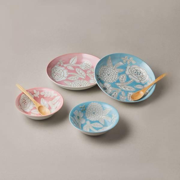 日本美濃燒 - 粉染花朵碗盤禮盒組 - 附湯匙 (6件式) ★ 高質感、安心無毒,日常食器首選