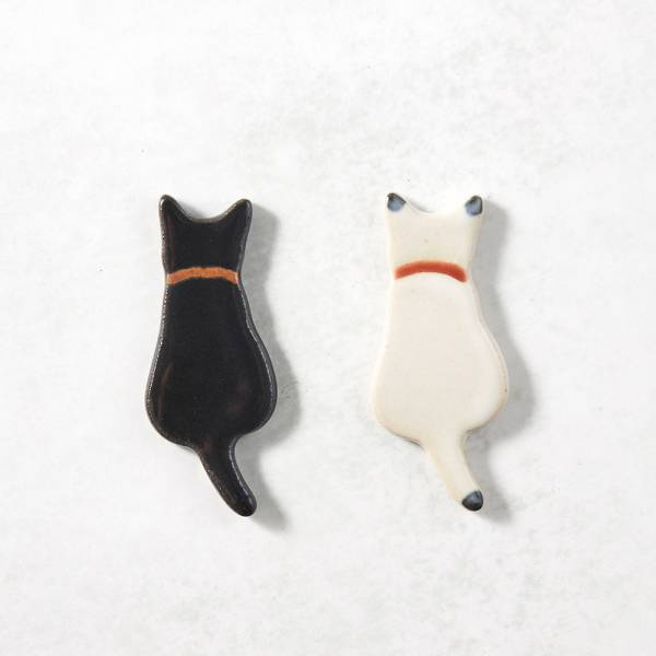 日本KOYO美濃燒- 陶製手作筷架 - 黑白喵喵雙件組 ★ 日本進口品質保證,檢驗合格餐具