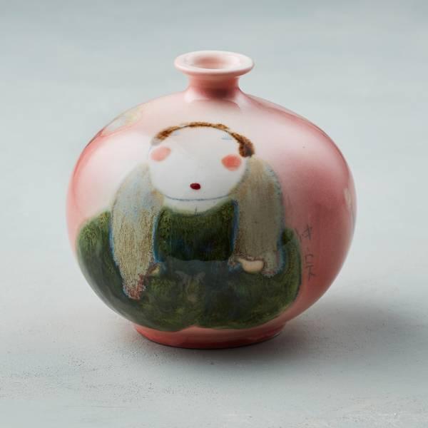 吳仲宗|胖太太系列 - 胖瓶 - 桃花紅 (核桃棕衣)   陶瓷;花瓶;擺飾;手繪;三芝藝術家