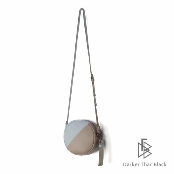 DTB|真皮拼接小圓相機包 - 暖灰 x 天藍 圓包,經典,優雅,真皮,原創,設計師,台灣設計,皮革,輕軟,質感