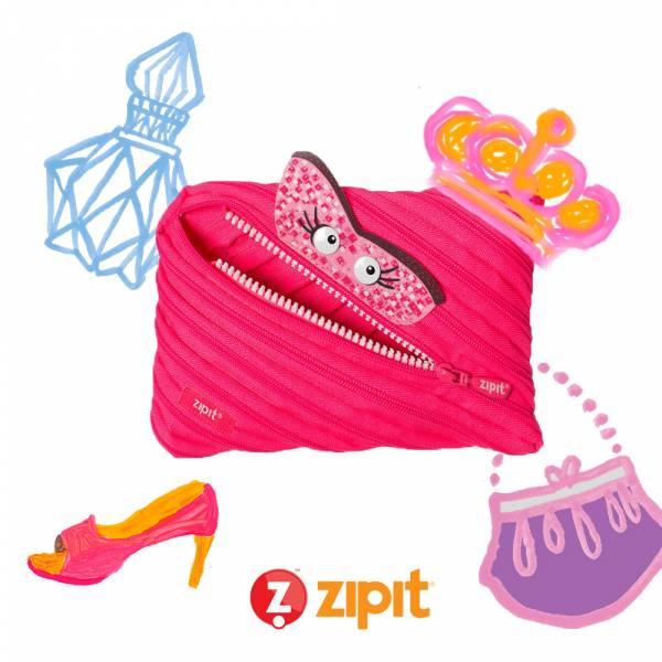 (5折出清)Zipit Talking 對話怪獸拉鍊包-(大)桃粉 怪獸拉鍊包、筆袋、化妝包、隨身小包