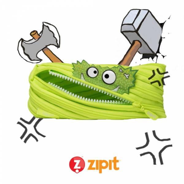 (5折出清)-Zipit Talking 對話怪獸拉鍊包-(中)螢光綠 怪獸拉鍊包、筆袋、化妝包、隨身小包