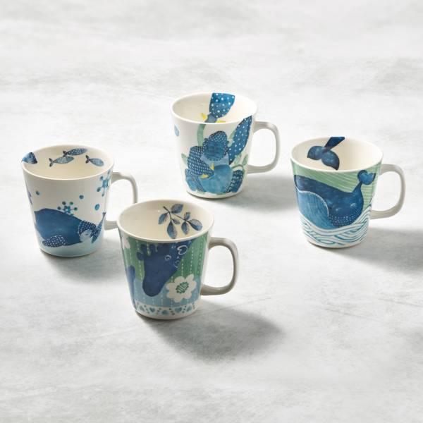 日本澤藍美濃燒 - 動物軍團-馬克杯組(4件式) 陶杯,日本製,食器,手工,檢驗合格,動物,茶杯,馬克杯