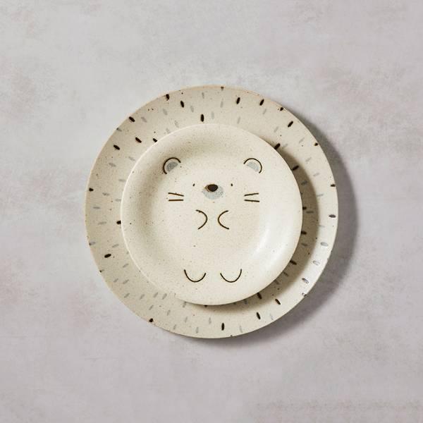 日本AWASAKA美濃燒- 默默刺蝟餐盤 - 禮盒組(2件式) 日本,盤,餐具組