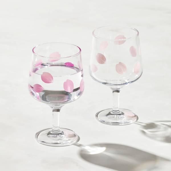日本富硝子 - 變色短腳杯 - 吉野櫻花雨 - 雙件組 (220ml) 日本,玻璃,玻璃杯,飲料杯,酒杯