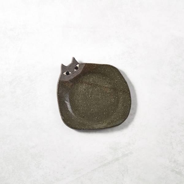 日本KOYO美濃燒- 陶製手作筷架 - 貓小皿 - 黑 ★ 日本進口品質保證,檢驗合格餐具