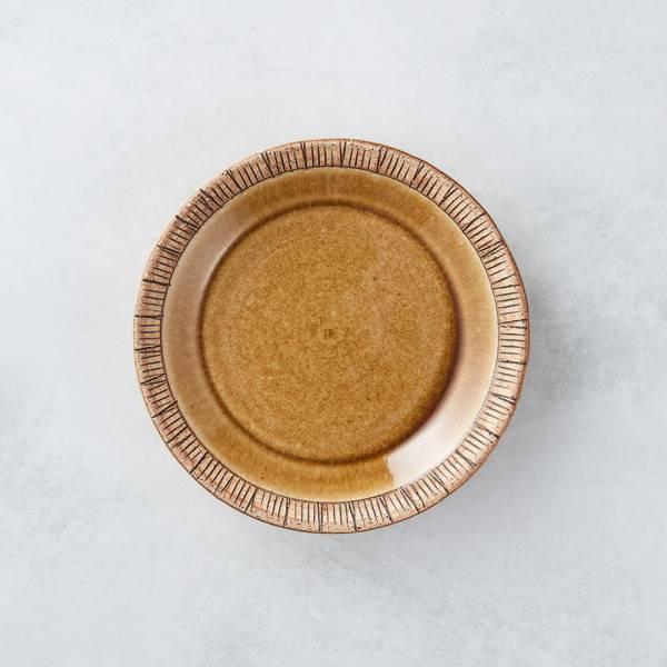 日本KOYO美濃燒 - 細雕紋小盤 - 赭石黃 餐盤,陶盤,日本製,食器,手工,檢驗合格