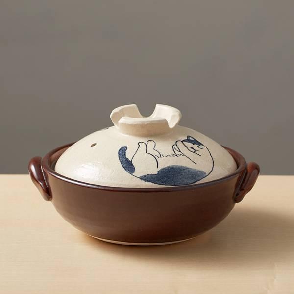 日本萬古燒-手繪土鍋8號-貓咪打呼(2.1L) 日本,原裝進口,陶鍋,土鍋,主婦必備,直火,遠紅外線,保留原味,多用,蓄熱,節能