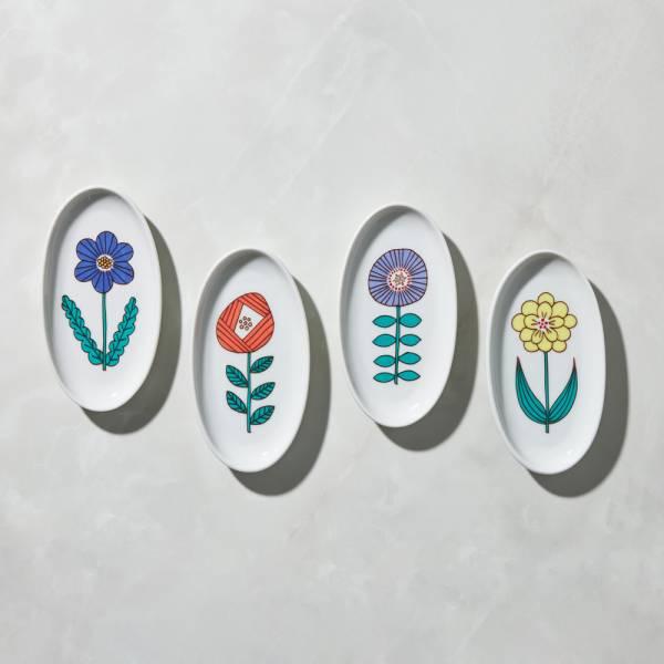 日本晴九谷燒 - 花語橢圓小盤(4件組) ★ 全部日本原裝精緻禮盒,送禮適宜