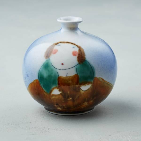 吳仲宗|胖太太系列 - 胖瓶 - 琉璃藍 (蒼綠衣) 陶瓷;花瓶;擺飾;手繪;三芝藝術家