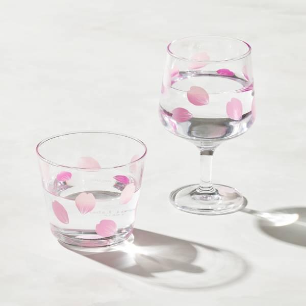 日本富硝子 - 變色自由杯 + 短腳杯 - 吉野櫻花雨 - 雙件組 (220ml) 日本,玻璃,玻璃杯,飲料杯,酒杯