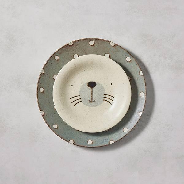 日本AWASAKA美濃燒- 憨憨海豹餐盤 - 禮盒組(2件式) 日本,盤,餐具組