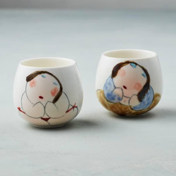 吳仲宗|胖太太系列 - 百合杯 - 玉潤珠圓 (雙件組) 陶瓷杯;茶杯;泡茶杯;手繪;三芝藝術家