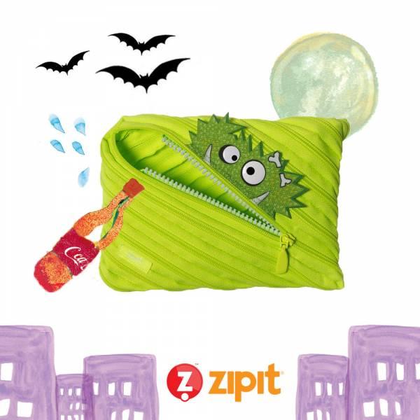 (5折出清)–Zipit Talking 對話怪獸拉鍊包-(大)螢光綠 怪獸拉鍊包、筆袋、化妝包、隨身小包