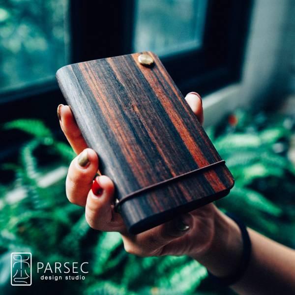 PARSEC|樹革黑檀旋轉卡套 環保皮革,樹革,自然,手工,台灣製
