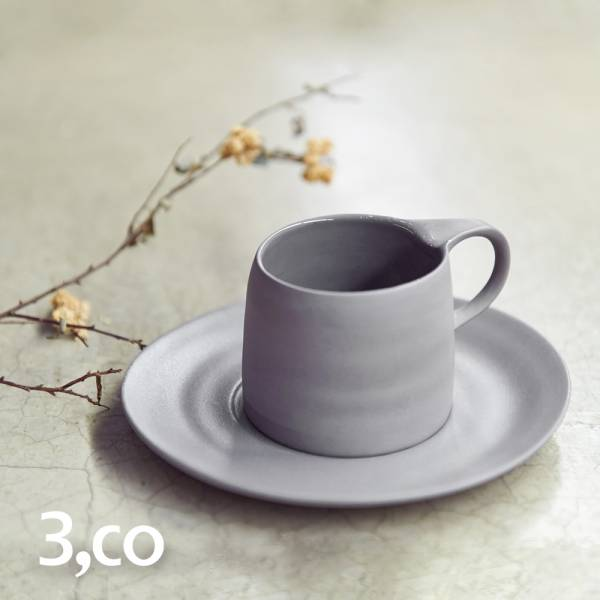 【3,co】卡布奇諾杯碟組(2件式) - 灰 咖啡杯,水杯,茶杯,茶具,水波,餐具,食器,米其林,當代,國際,台灣之光,台灣,原創,設計,簡約,生活美學,空間,瓷器,東方意象,驚豔,精品,禮物,禮品,送禮