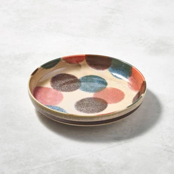日本AWASAKA美濃燒- 筆青釉繪深盤 - 粉點打 ★ 微高度設計,完美盛裝各種料理