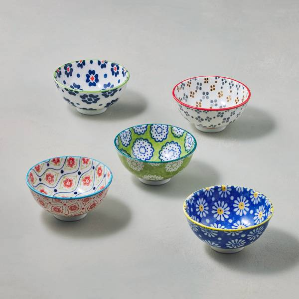 日本AWASAKA美濃燒- 絢麗粉彩飯碗 - 禮盒組(5件式) - 11.5cm 日本,盤,餐具組