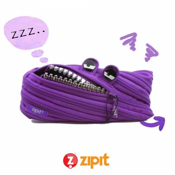 Zipit 怪獸拉鍊包鋼牙版(中)-紫 怪獸拉鍊包、筆袋、化妝包、隨身小包