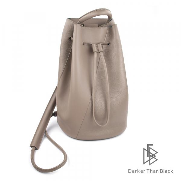 DTB|真皮拼接水桶背包(大) - 暖灰 手提,後背,多用,拼接,水桶包,經典,優雅,真皮,原創,設計師,台灣設計,皮革,輕軟,質感