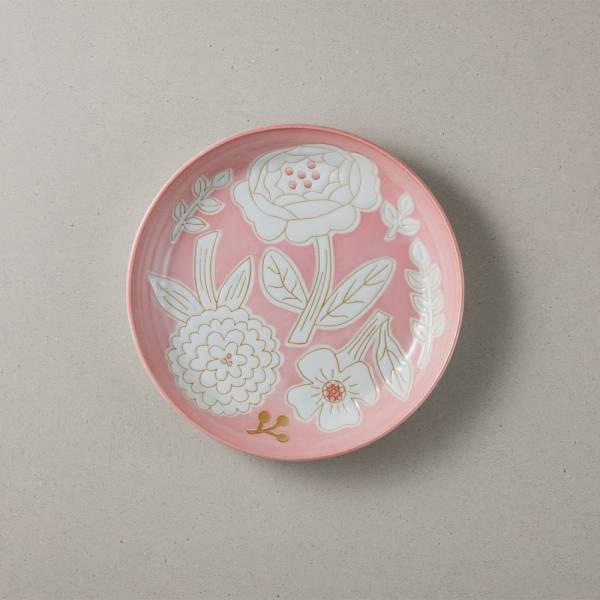 日本美濃燒 - 粉染花朵盤 - 粉色 (19.5cm) ★ 高質感、安心無毒,日常食器首選
