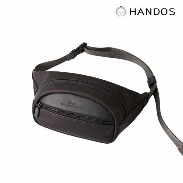 HANDOS|Lil' Brodie 帥氣真皮斜挎腰包 - 蝙蝠黑 真皮,設計師,台灣設計,訂製五金,植鞣皮革