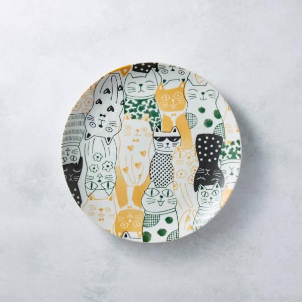 日本AWASAKA美濃燒- 酷花貓餐盤 - 黃 日本,原裝進口,盤,大盤