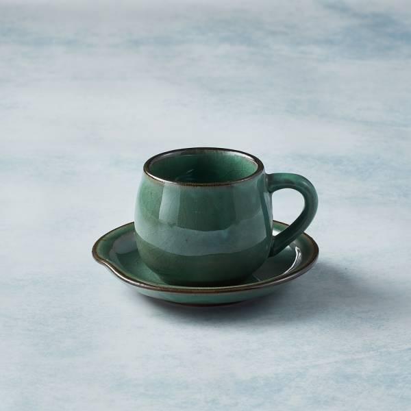 日本KOYO美濃燒 - 圓口咖啡杯碟組 - 青綠 陶杯,日本製,食器,手工,檢驗合格