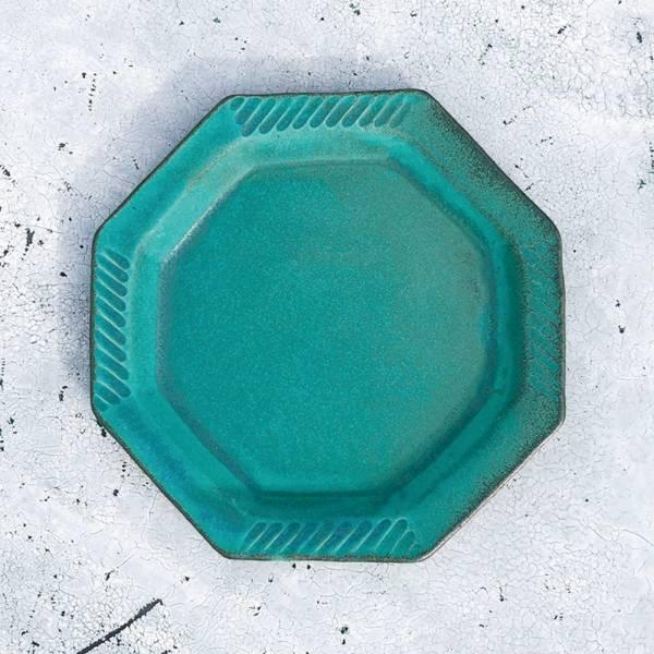 日本窯元益子燒 - 青綠燻刻紋八角淺盤