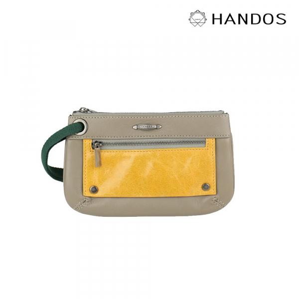 HANDOS|Bracelet 浪漫輕便手拿包 - 灰X黃↘6折 復古,真皮,設計師,台灣設計,訂製五金,植鞣皮革