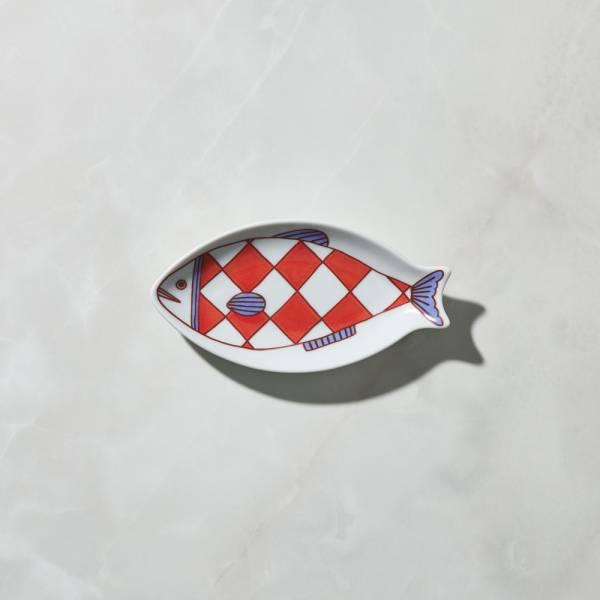 日本晴九谷燒 - 魚小盤 - 菱格紋 ★ 全部日本原裝精緻禮盒,送禮適宜