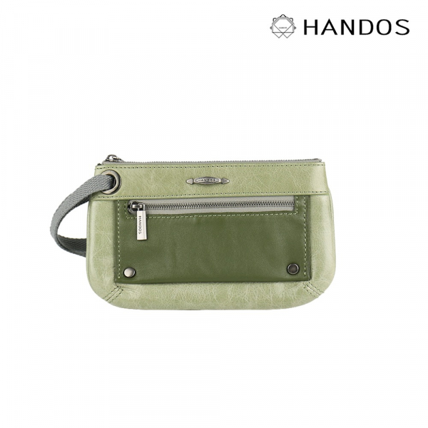 HANDOS|Bracelet 浪漫輕便手拿包 - 草綠↘6折 復古,真皮,設計師,台灣設計,訂製五金,植鞣皮革
