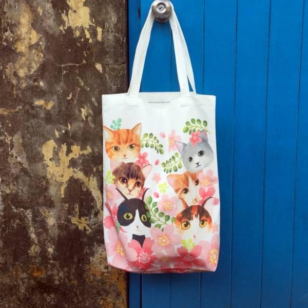 剪刀兔本鋪–雙面帆布袋–春天與貓 設計包、肩背包、環保袋、隨身包