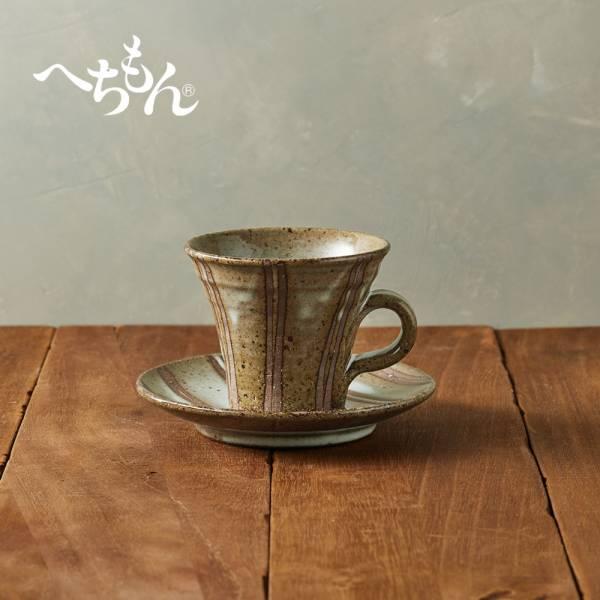 日本丸伊信樂燒 - 白萩立線咖啡杯碟組(2件式)  日本,咖啡杯,水杯,茶杯,杯碟組