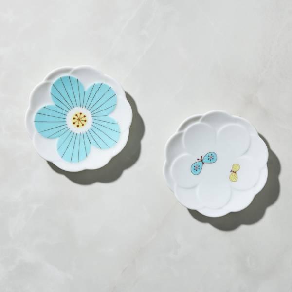 日本晴九谷燒 - 花見小盤 - 藍(2入組) ★ 全部日本原裝精緻禮盒,送禮適宜