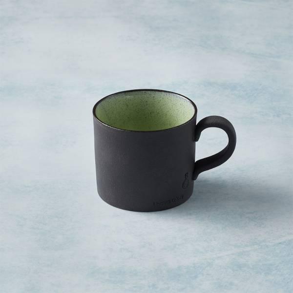 日本KOYO美濃燒 - 黑陶釉彩馬克杯 - 橄欖綠 陶杯,釉下彩,防水,日本製,食器,手工,檢驗合格
