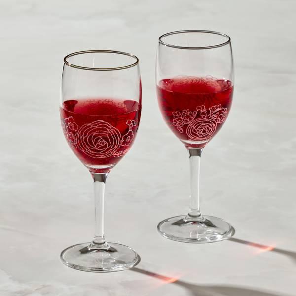 日本富硝子 - 蕾絲葡萄酒杯 - 綻放鉑金對杯組 (2件式) - 禮盒組 (250ml) 日本,玻璃,玻璃杯,飲料杯,酒杯,紅酒杯