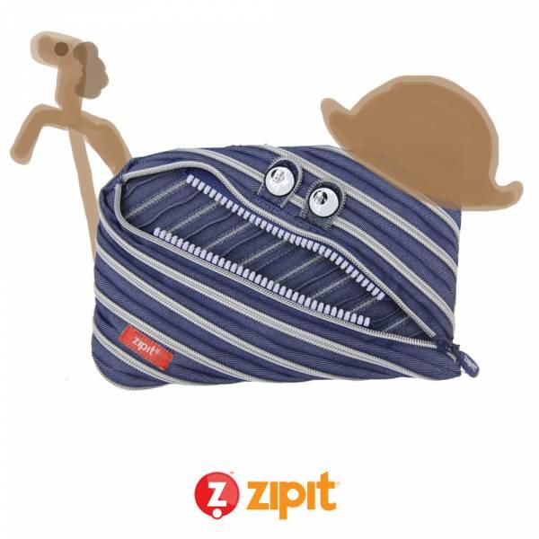 Zipit 牛仔怪獸拉鍊包(大)-藍白條紋 怪獸拉鍊包、筆袋、化妝包、隨身小包