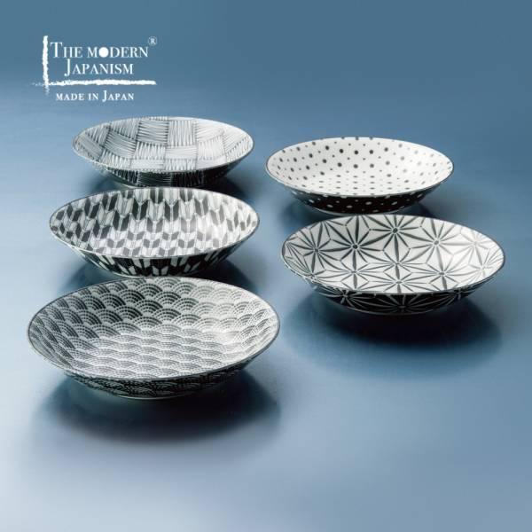 日本AWASAKA美濃燒- 小紋深盤組(5件式) 日本,餐具組,盤子,禮盒