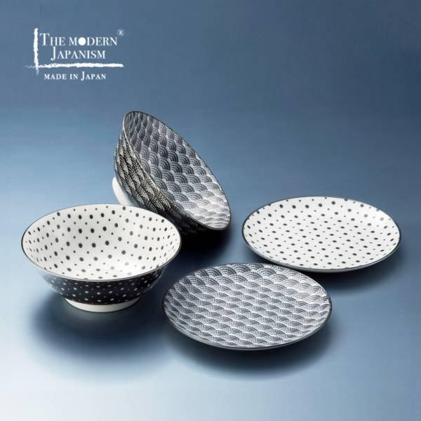 日本AWASAKA美濃燒- 小紋碗碟組 (4件式) 日本,餐具組,盤子,碗,禮盒