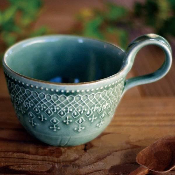 日本窯元益子燒 - 蕾絲花紋提耳杯 - 灰綠