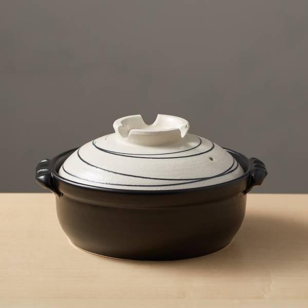 日本萬古燒-IH土鍋7號-白色旋紋(1.4L) IH爐,日本,原裝進口,陶鍋,土鍋,主婦必備,直火,遠紅外線,保留原味,多用,蓄熱,節能