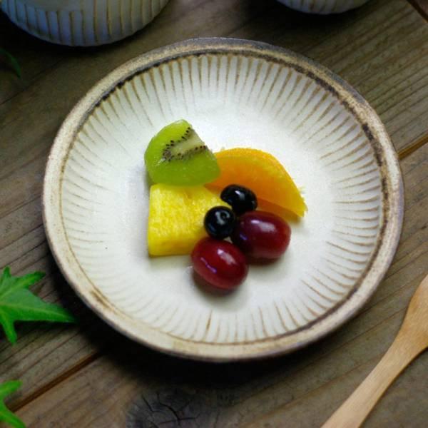 日本窯元益子燒 - 粉引燻緣紋圓盤