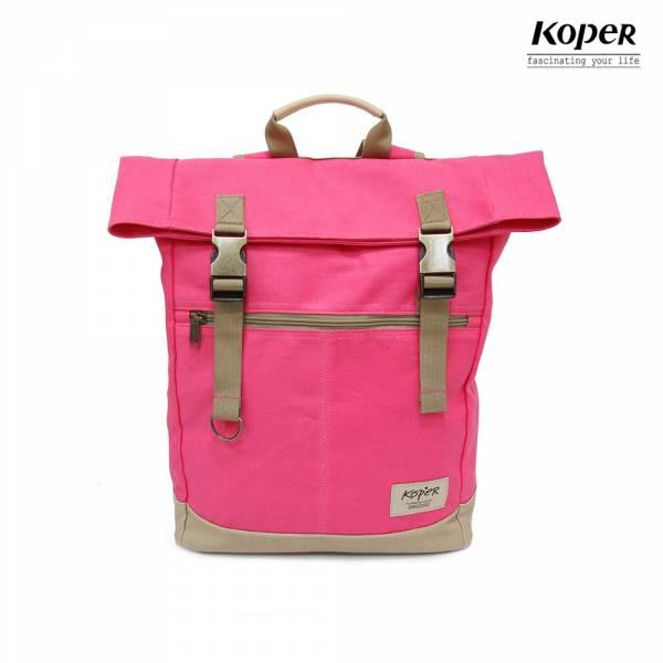 KOPER  不平帆系列-復古雙釦後背包-桃氣紅 後背包、台灣設計製造